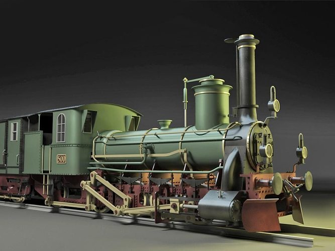 steyerdorf steam locomotive engine 3d model max obj mtl 3ds skp 1