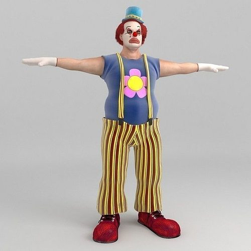 bobby the clown 3d model max obj fbx c4d 1