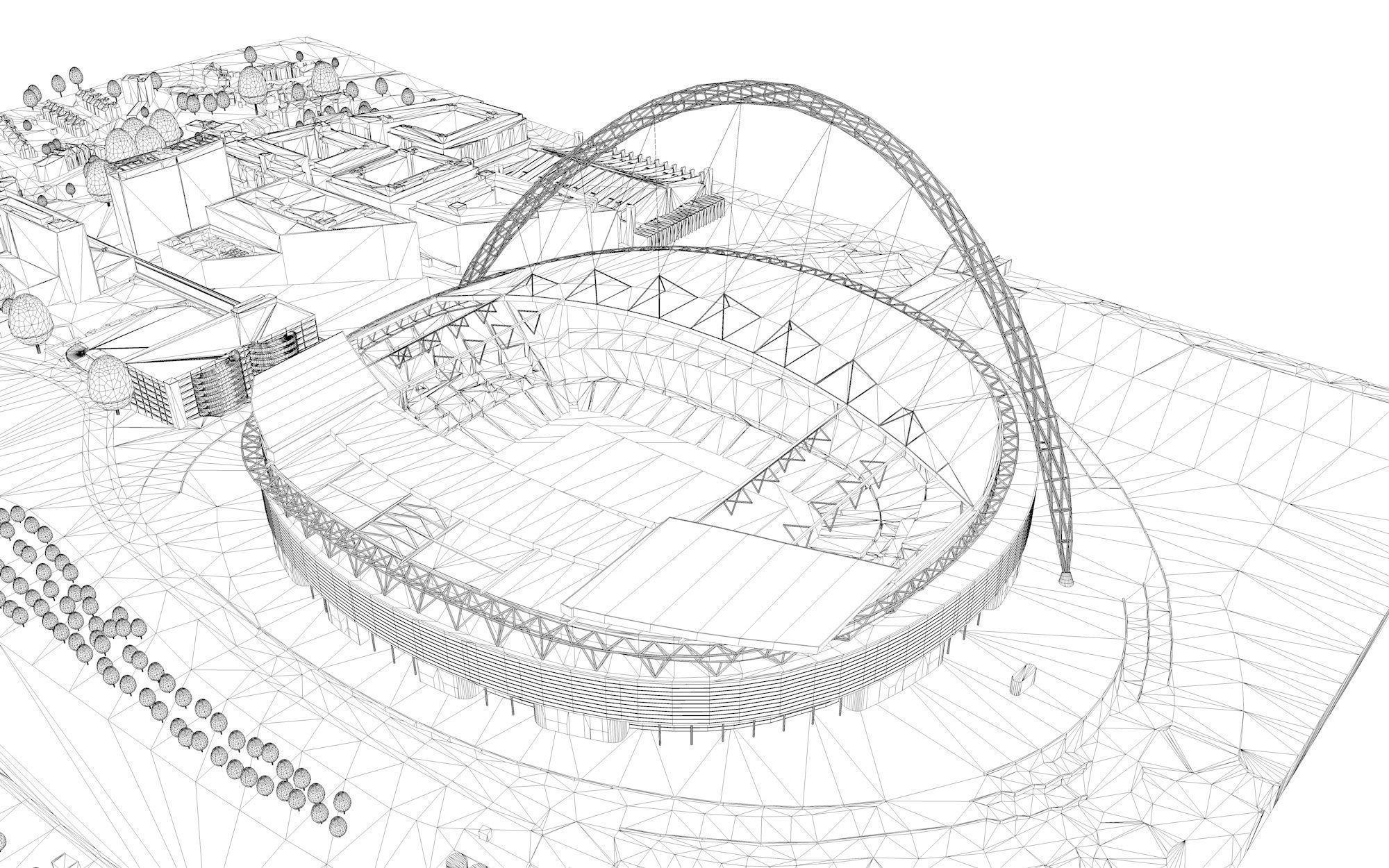 how to draw wembley stadium