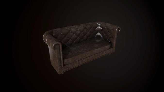 old dirty chesterfield sofa 3d model fbx 1