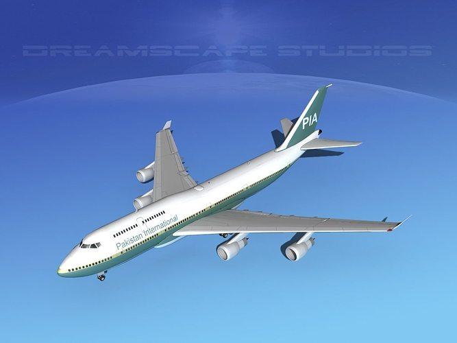 boeing 747-400 pakistan  3d model max obj mtl 3ds lwo lw lws dxf stl 1