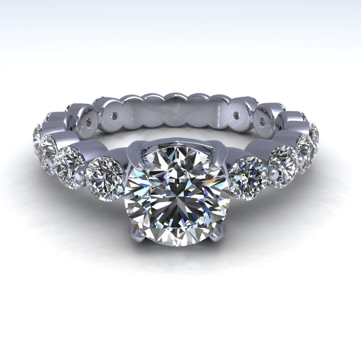 tq band rings shared engagement daussi diamonds henri side diamond prong