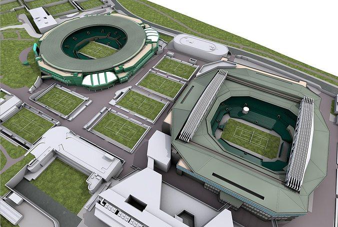 wimbledon tennis club  -  london 3d model obj 3ds fbx c4d 1