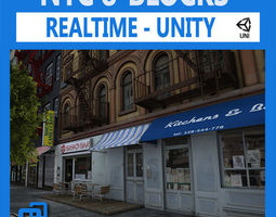 nyc 8 blocks unity 3d model low-poly