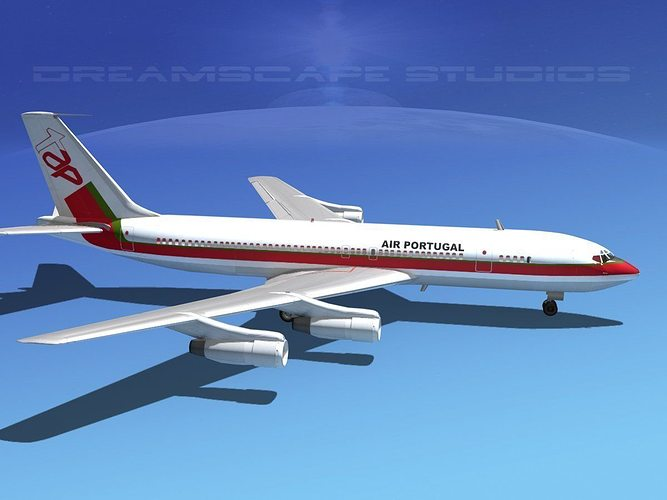 boeing 707 air portugal 3d model max obj mtl 3ds lwo lw lws dxf stl 1