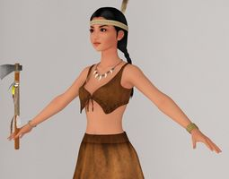 T pose nonrigged model of Native American girl Aiyana 3D