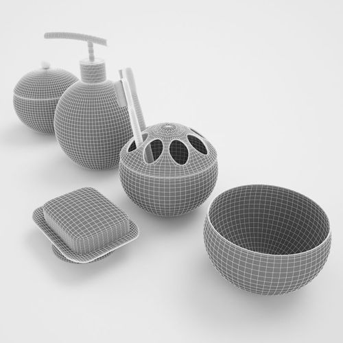 Bathroom accessories set 1 3d model max obj fbx dxf for 3d bathroom accessories