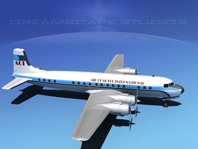 Douglas DC7C Air Charter Intl 3D Model Rigged MAX OBJ 3DS LWO LW LWS DXF STL