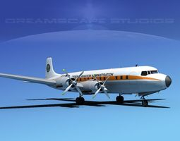 3d rigged douglas dc-7c federal aa