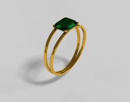 Emerald Goldern Ring 3D print model