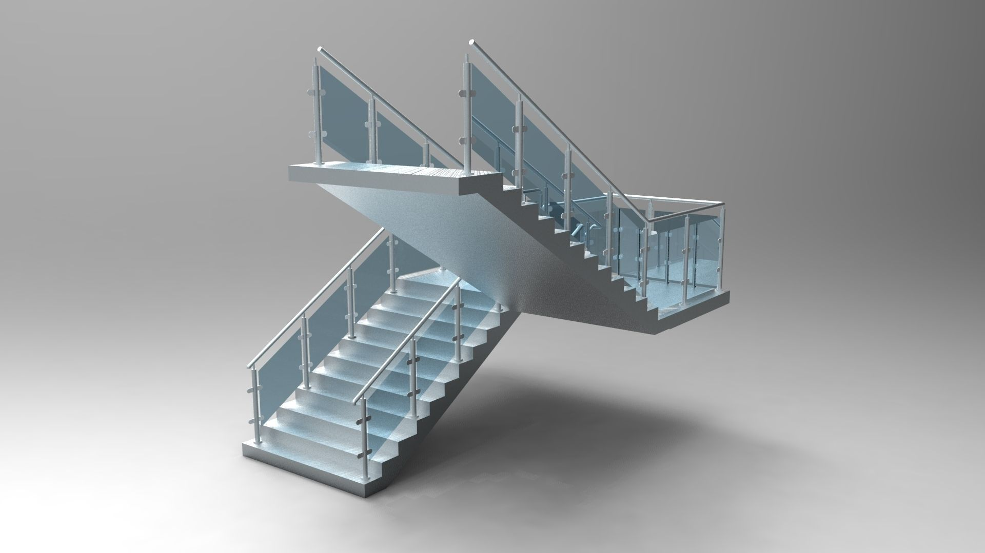 Concrete Stair Case with Glass Balustrade