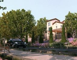 animated Villa 3d model