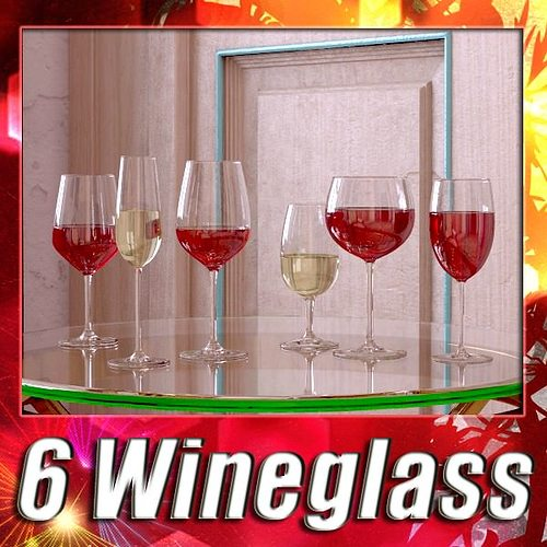 6 wine glass collection 3d model max obj 3ds fbx 1