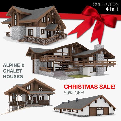 european chalet houses 4 in 1 collection  3d model 3ds fbx c4d 1