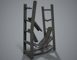 Old wooden shelving 3D model VR / AR ready