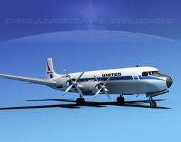 3D model Douglas DC-7C United Airlines