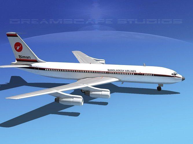 boeing 707 bangladesh airlines 3d model max obj mtl 3ds lwo lw lws dxf stl 1