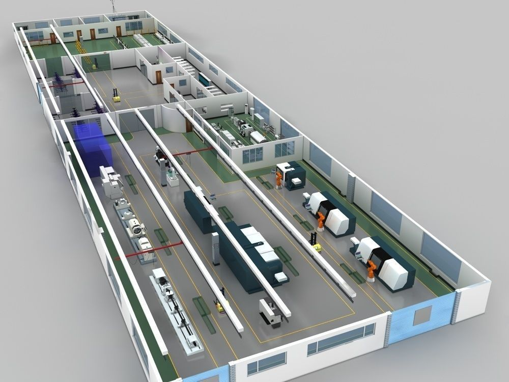 Factory indoor and production equipment