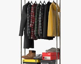 Industrial Clothes Rail Rack 3D