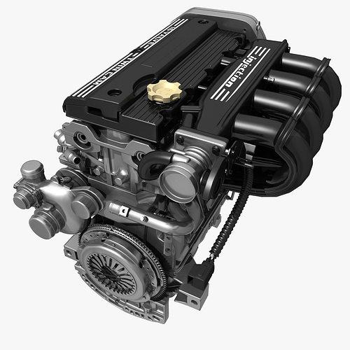 car 4 cylinder engine 02 3d model cgtrader. Black Bedroom Furniture Sets. Home Design Ideas