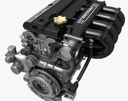 Car 4 Cylinder Engine 02 3D Model