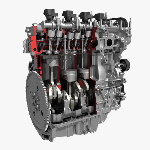 4 cylinder engine block cutaway 3d model max fbx 1