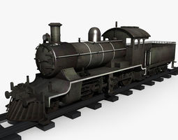 3d model old steam locomotive 01