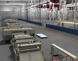 Factory Interior Scene and Equipment 3D
