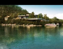 Villa 3d model residence suburban