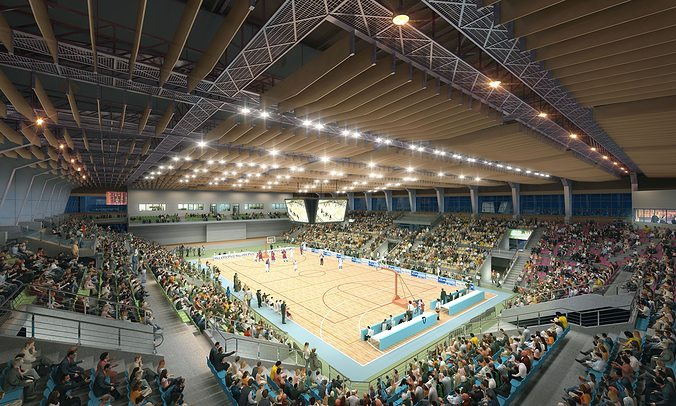 basketball hall 001 3d model max fbx 1