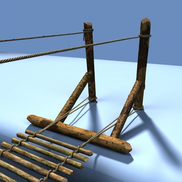 Hanging rope bridge | 3D model