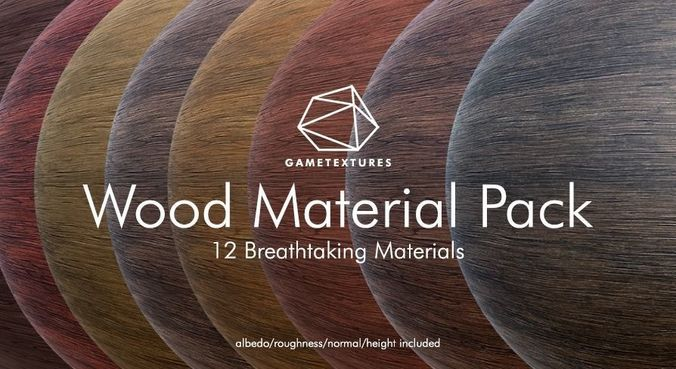 wood material pack by gametextures 3d model tga unitypackage prefab uasset 1