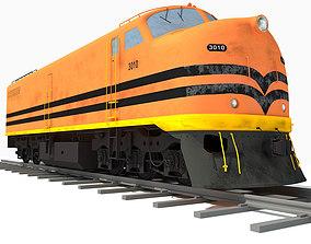 Orange Locomotive Train 3D Model