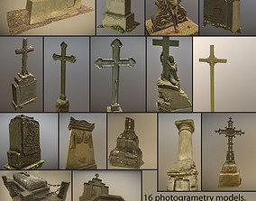 Cemetery graveyard thombstones crosses and a 3D model
