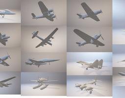 3D 20 Classic Militar War Aircrafts Collection