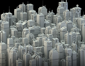 3D asset 24 LOWPOLY SCIFI SKYSCRAPERS PACK