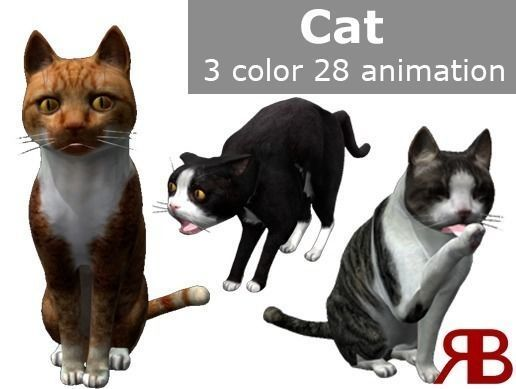 cat lowpoly 3d model low-poly rigged animated fbx blend 1