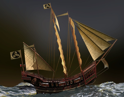 3D model Red Seal ship