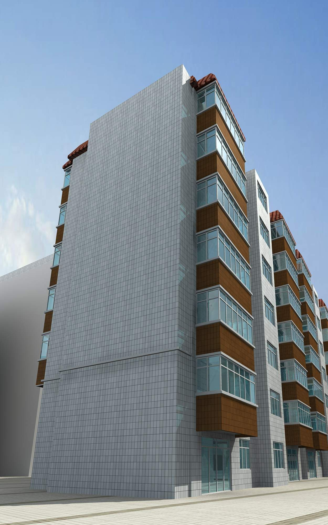 Modern buildings with balconies 3d model max for Building balcony