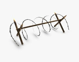 3d model low poly barbed wire barricade