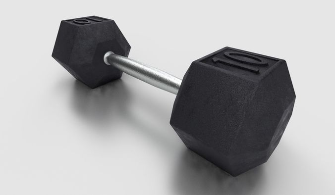 dumbbell  3d model low-poly max 3ds 1