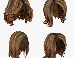 Female hairstyle hair pack 3D model