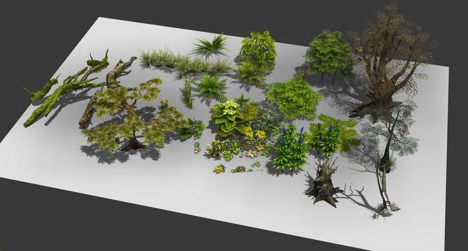 a group  plants bushes flower 3d model low-poly max obj mtl fbx 1