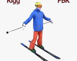 Skier 3D asset