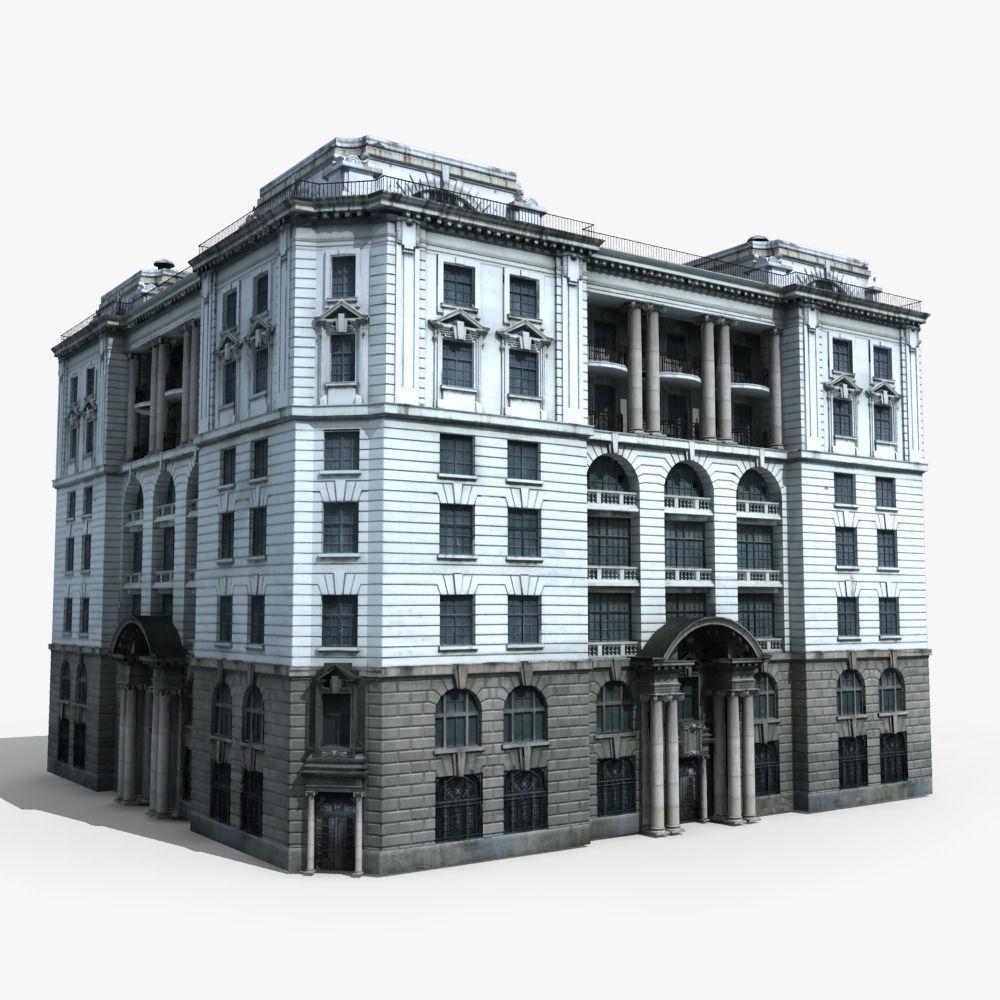European Building 3d Model Max Obj Fbx 1 ...