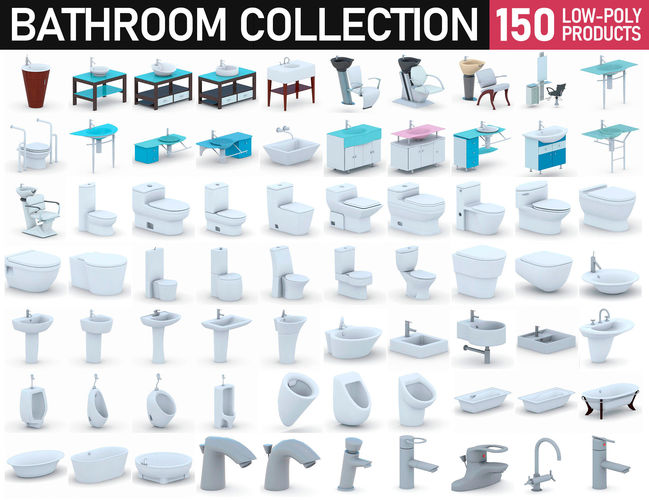 bathroom collection - 150 products 3d model max obj 3ds fbx dae mtl 1