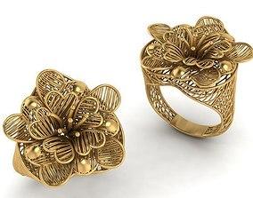 Rose ring 3d print model botanical