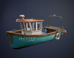 game-ready Fishing Ship with interior game-ready asset