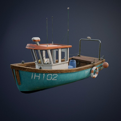 fishing ship with interior game-ready asset 3d model low-poly fbx blend uasset 1