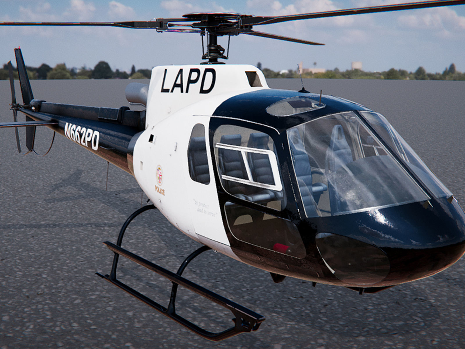 Low Poly PBR Police Eurocopter AS350